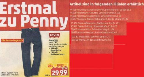 Levis Jeans 501/ 752 bei Penny für 29,99 € ab Montag den 28.01.2013. Nicht Bundesweit!!!