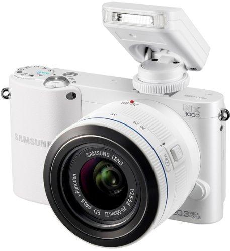 Samsung NX1000 Systemkamera (20 Megapixel, 7,6 cm (3 Zoll) Display) inkl. 20-50mm F3.5-5.6 ED II Objektiv weiß WHD wie Neu