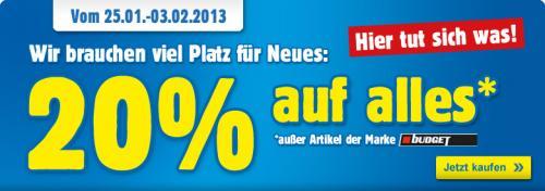 Bis zum 3. Februar 20% Rabatt auf alle Artikels auf Praktiker.de