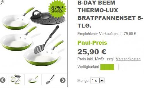 Beem THERMO-LUX BRATPFANNENSET 5-TLG. für € 30,80 inkl. Versandkosten