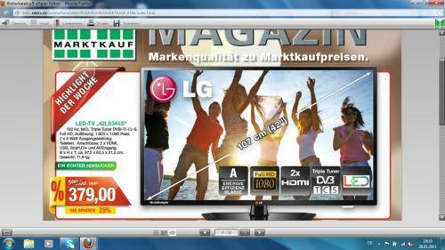 """[Lokal] Marktkauf Marsberg 42"""" LG LED-TV mit Tripletuner Typ 42LS345S für 379€"""