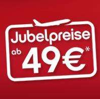 1 Mio. Oneway Tickets zusätzlich ab 49€ inkl. Steuern und Gebühren bei airberlin