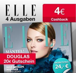 [ELLE] Probeabo für 24€ + 20€ Douglas-Gutschein + 4€ Cashback (Effektiv also für 0€)