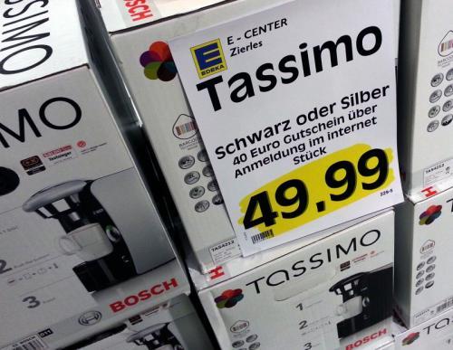 [Lokal?] Tassimo T42 Kaffemaschine inkl. 40 Euro Gutschein + Kaffepaket nach Wahl gratis für 49,99€!