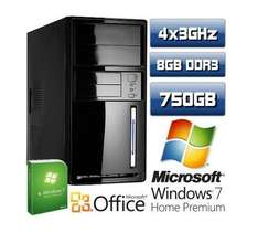 Für 299 EUR: PC Quad Core Computer AMD Phenom II X4 945 8GB 750GB Windows7 Premium 64