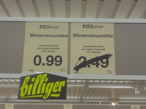 [LOKAL + OFFLINE] Winterstreumittel 10 Liter Beutel bei Aldi Nord in Bochum reduziert von 2,49 auf 0,99 €