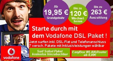 Vodafone DSL plus Mobile Flat Paket Aktion (DSL 16000 + 3-fach-Flat) für rechnerisch 19,53 EUR pro Monat