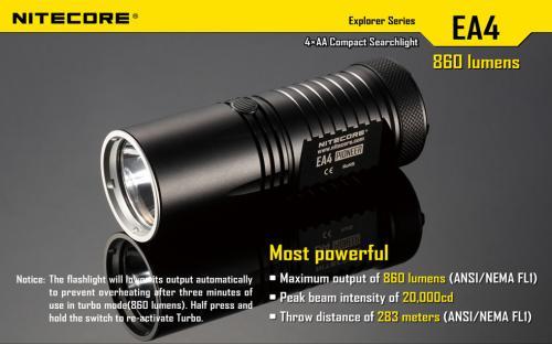 Nitecore EA4 Pioneer Taschenlampe - 860 ANSI Lumen - 4x AA (Versand aus China)