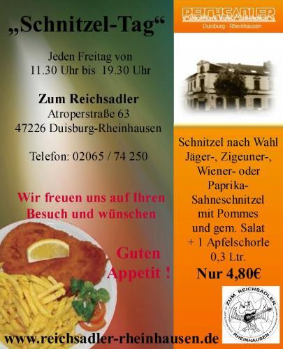 [Lokal + Offline Duisburg] Schnitzeltag im Reichsadler (Freitags: Versch. Schnitzel + Pommes + Salat + 0,3l Getränk = 4,80€ !)