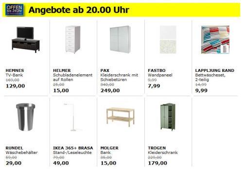 [lokal] IKEA Kamen -  Angebote nur heute von 20 bis 24 Uhr: z.B. PAX Schiebetürenschrank 249€ statt 340€ oder Bank MOLGER für 15€ statt 35€!