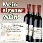 3 Flaschen Bordeaux-Wein mit eigenem Etikett für 19,98 Euro (inkl. VSK)