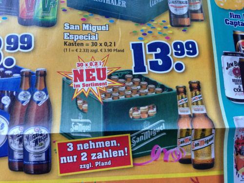 trinkgut: 3 x 30 x 0,2 l San Miguel Especial Bier (1,55 €/l)