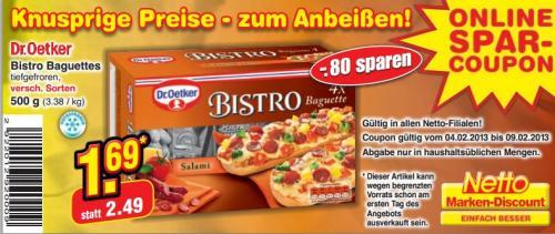 [wieder da] 500g Packung Bistro Baguettes von Dr.Oetker für 1,69€