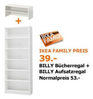 IKEA Billy Regal + Aufsatz statt € 53 nur € 39 für IKEA Family Mitglieder