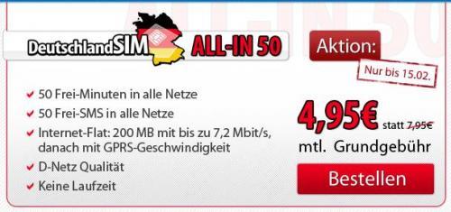 All-In 50 D2-Netz 4,95€ monatlich, ohne Laufzeit
