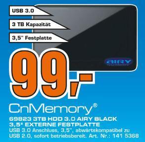[LOKAL Gelsenkirchen - Beide Saturn Märkte] CNMEMORY Airy externe Festplatte 3,5 Zoll 3TB USB 3.0 = 99,00€