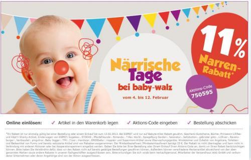 Baby-Walz 11 Prozent Rabatt auf (fast) alles bis 12.02.