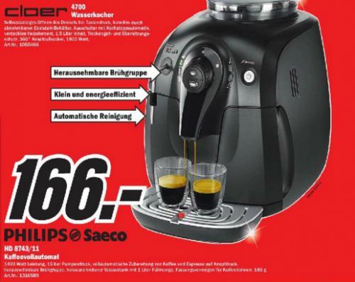 [Berlin] Saeco Kaffeeautomat (HD8743/11) bei Mediamarkt für 166€