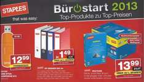 Staples Hannover (evtl. bundesweit?): 32 GB USB-Stick für 12,99 Euro und 5x500 Blatt Multiuse Papier für 13,99 Euro