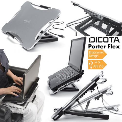 Dicota Flex Porter Notebook-Ständer aus Aluminium mit 4-Port USB 2.0 HUB [ibood]
