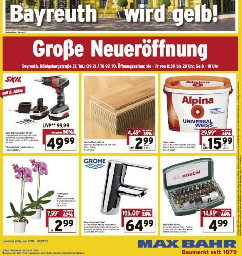 (lokal: Bayreuth) Max Bahr Neueröffnung, Alpina Universalweiss 10l für 15,99 o. Bosch Bit-Set 32tl. für 4,99