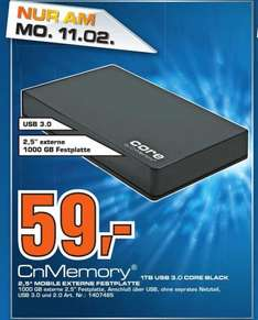 "[Lokal Saturn Celle] CnMemory 1TB Core USB3.0 2,5"" Tagesangebot am Montag den 11.02.2013"