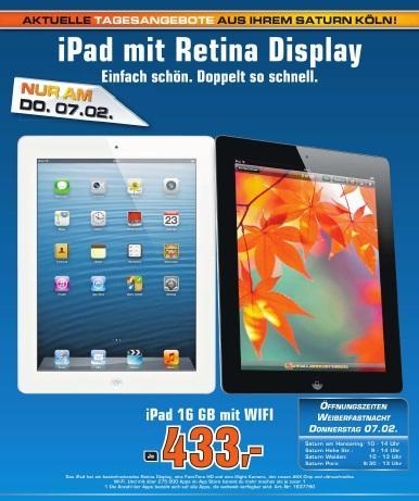 [LOKAL] Apple iPad 4 16GB WIFI 433€ @Saturn Köln