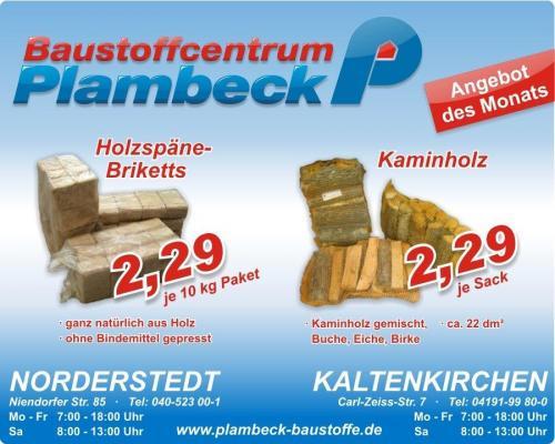 [lokal Norderstedt/Hamburg] 2,29€ für 10kg Holzspäne Briketts oder Kaminholz bei Plambeck