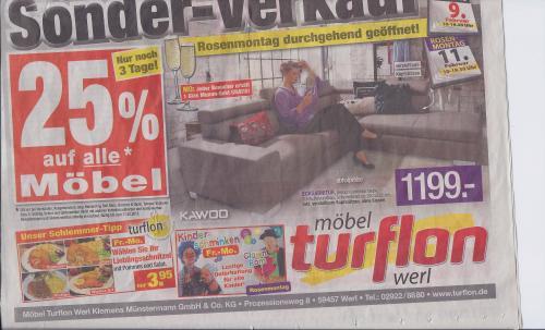 [Lokal] Schnitzel mit Pommes & Salat für 3,95€ im Möbelhaus Turflon bei Werl