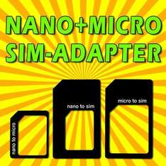 NANO MICRO SIM ADAPTER SET 3 in 1 für IPHONE 4 4S 5 NOKIA SAMSUNG HTC SIEMENS