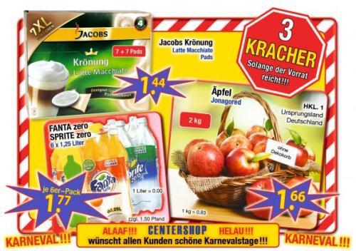 [CenterShop] Fanta Zero Sprite Zero 6x1,25L 1.77€ / Jakobs Krönung Latte Macchiato 7+7XL Pads 1,44€