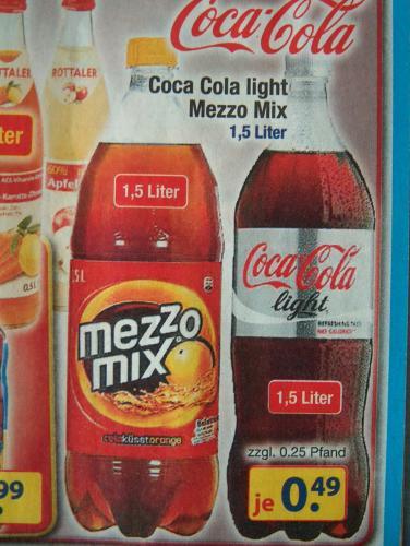 centerSHOP * MezzoMix + Coca Cola light 1,5 Liter  zzgl.Pfand -  event.Lokal