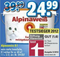 [Praktiker] Original Alpinaweiß 8 Liter für 24,99 EUR statt 39,99 EUR