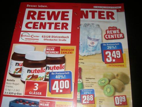 [Lokal?]1 KG Nutella fuer 2.96 im Rewe Center 3x 450g Glass fuer 4.00 Euro