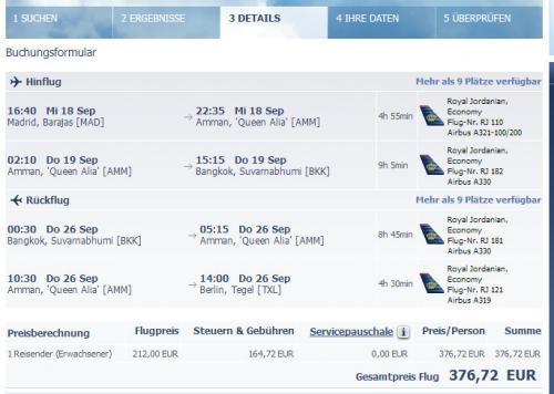 Gabelflug mit Royal Jordanian: Madrid - Bangkok - Berlin