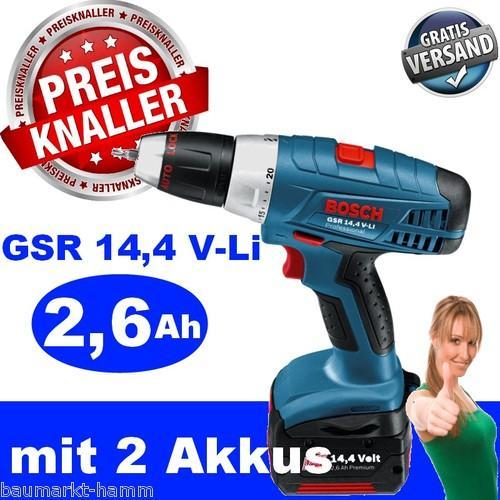 BOSCH Akku-Bohrschrauber GSR 14,4 V-Li + 2 x 2,6 Ah Akkus + Schnellladegerät für nur 149,99 EUR inkl. Versand!