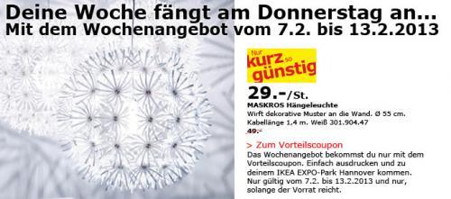 [lokal] IKEA Hannover Expo: Deckenlampe MASKROS nur 29,00 statt 49,00