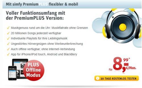 Simfy Premium Plus 1€/Monat günstiger über Kabel Deutschland Homepage
