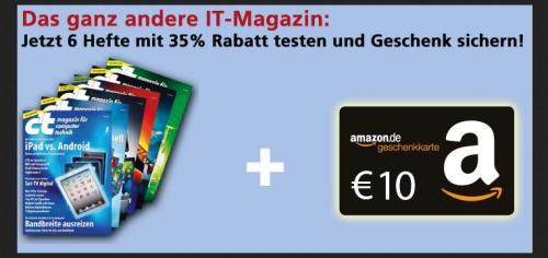 Heise: 6x Computerzeitschrift c't dank Amazon Gutschein für nur nur 5,20€ – 87 Cent je Ausgabe!