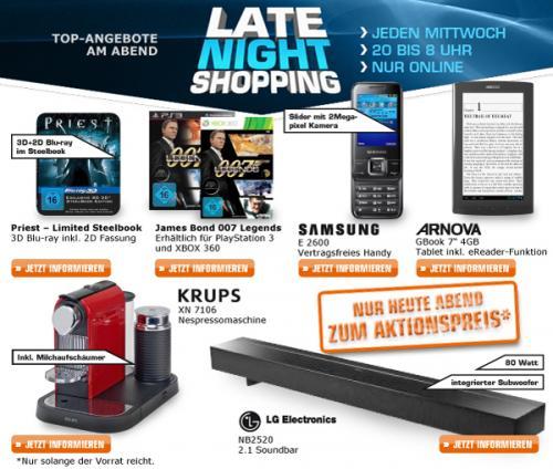 "Saturn Late Night Shopping 13.02.13: Priest 3D 10€, 007 Legends XBOX360/PS3 20€, SamsungE2600 35€, ARNOVA GBook 7"" 4GB 66€, Krups XN7106 129€, LG NB2520 2.1 Soundbar 129€"