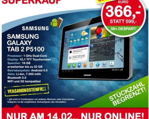 Samsung Galaxy Tab 2 5100  16GB + 3G !!! ,nur am 14.2 ,ab 00.00 Uhr im Onlineshop bei Interspar(AT)