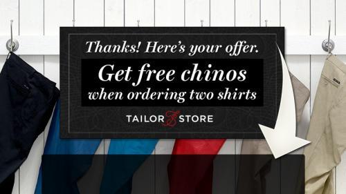 Tailorstore: Zwei Maßhemden bestellen, eine Maßchino gratis