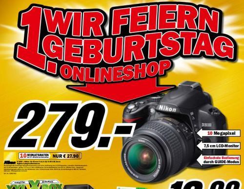NIKON D 3000 KIT + DX18-55 II für 279€ (Offline, MediaMarkt Offenburg)