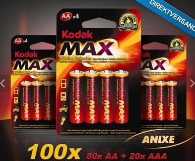 [KNALLER] Kodak Batterie-Mega-Pack mit 80 AA- sowie 20 AAA-Batterien (haltbar bis 2018) inkl. Versand für 24,90€ statt 124,75€