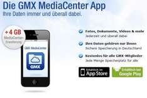 GMX: 4 GB für Ihr MediaCenter zusätzlich gratis