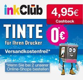 inkClub: Tintenpatrone oder Fotopapier für effektiv  0€ durch 4,95€ Cashback