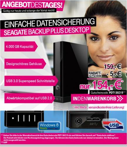 SEAGATE BACKUP PLUS  4TB Externe Festplatte mit  USB 3.0
