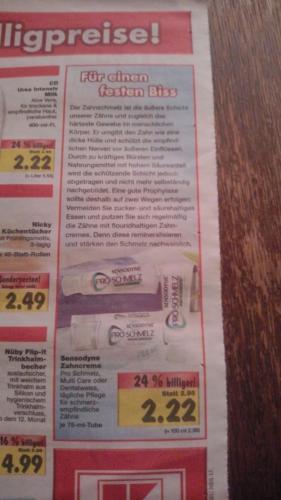 Kaufland [evtl. lokal Bühl/Baden] ab 18.02. Sensodyne Proschmelz, Multi Care oder Dentalweiss für 2,22 EUR