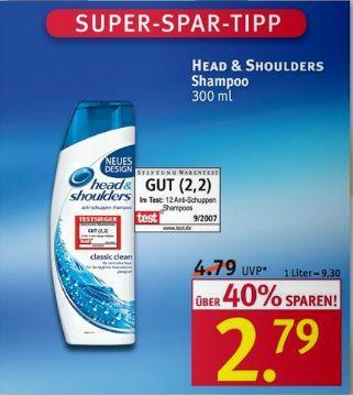 [Rossmann] Head & Shoulders Shampoo 300ml mit Coupon für 1,29€