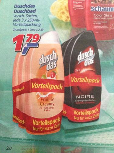 Duschdas Duschgel Vorteilspack 3 x 250 ml ab Montag @ DM 1,75 EUR / Real 1,79 EUR / Penny 1,88 EUR